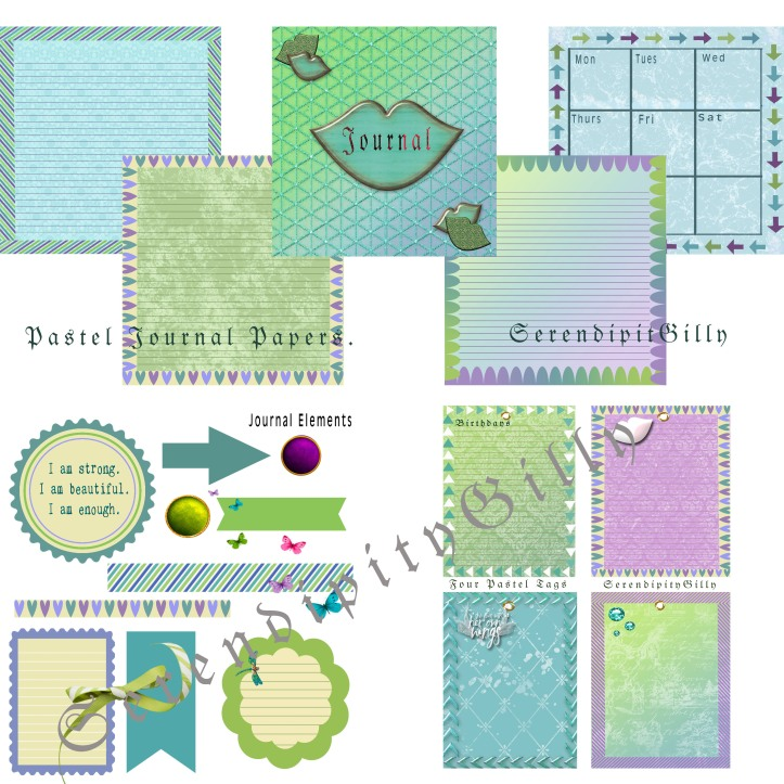 Pastel Journal Papers, Tags, and Elements.